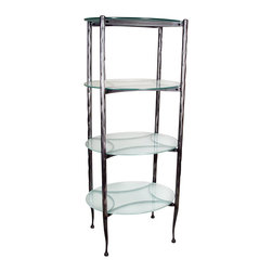 Form & Reform - Pan Oval Shelf - Tall, lanky, and lovely — what else could you want in a shelving unit? This hammered, hand-forged steel and glass model will work in a bathroom, kitchen or wherever else you need extra storage space. With four oval glass surfaces, you'll be pleasantly surprised by how much it can hold.