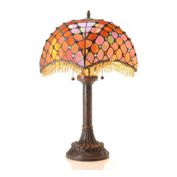 Warehouse of Tiffany - Tiffany-style Amber Beaded Table Lamp - This elegant Amber Table Lamp has been handcrafted using methods first developed by Louis Comfort Tiffany.