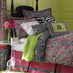 "Legacy Home - Legacy Home Twin Duvet Cover - What a vivid palette! Paisley duvet covers in flamingo pink, ebony, white, gray, and green are cotton with zebra-stripe spun polyester reverse. Tailored cotton canvas seven-pleat dust skirts with 2"" zebra-stripe border have an 18"" drop. Paisley standard..."