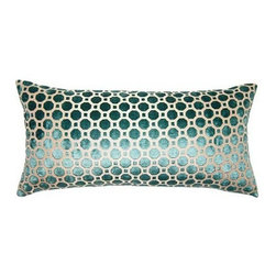 Squarefeathers - Peacock Pillow, Dots Pillow - The Peacock collection is bright and exuberant. Throw some color into your home and amaze your guests. Made of polyester and rayon with knife edge trim. It has a soft and pump feataher/down insert inclosed with a zipper. Like all of our products, this pillow is handmade, made to order exclusively in our studio right here in the USA.