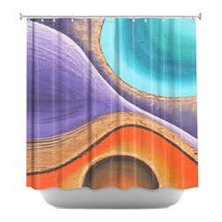 DiaNoche Designs - Shower Curtain Artistic - Copper Moon II - DiaNoche Designs works with artists from around the world to bring unique, artistic products to decorate all aspects of your home.  Our designer Shower Curtains will be the talk of every guest to visit your bathroom!  Our Shower Curtains have Sewn reinforced holes for curtain rings, Shower Curtain Rings Not Included.  Dye Sublimation printing adheres the ink to the material for long life and durability. Machine Wash upon arrival for maximum softness. Made in USA.  Shower Curtain Rings Not Included.