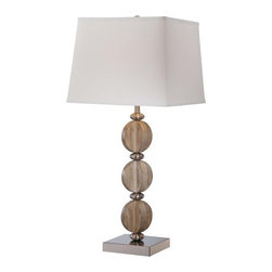 Ambience - Ambience 13032-0 1 Light Cream Linen Table Lamp - Features: