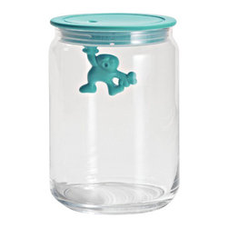 "Alessi - Alessi ""Gianni"" Kitchen Glass Box, Light Blue - A kitchen box in glass with hermetic lid in thermoplastic, Gianni is a little man holding on tight."