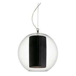 """Bolla Pleated Medium Pendant - The Bolla Pleated Medium pendant light from Modoluce has been designed by Paolo Grasselli and ModoLuce Research in 2008. This suspension luminaire is great for incandescent lighting. This fixture is composed of acyrlic glass with an inner shade available in acrylic glass, and pleated fabric. The Bolla pendant light exhibits a versatile and extraordinary design, along with quality craftsmanship, that is sure to brilliantly brighten any contemporary domain.  Product Details:  The Bolla Pleated Medium pendant light from Modoluce has been designed by Paolo Grasselli and ModoLuce Research in 2008. This suspension luminaire is great for incandescent lighting. This fixture is composed of acyrlic glass with an inner shade available in acrylic glass, and pleated fabric.  The Bolla pendant light exhibits a versatile and extraordinary design, along with quality craftsmanship, that is sure to brilliantly brighten any contemporary domain.  Details:                         Manufacturer:             ModoLuce                            Designer:                        Paolo Grasselli and ModoLuce Research                                         Made in:            Italy                            Dimensions:             Width: 19.68"""" (50 cm)                            Light bulb:                         1 X 75W incandescent                                                      Material:             Acrylic glass, Pleated fabric"""