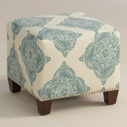 "World Market - Aqua Mani McKenzie Ottoman - Cozy up with our custom-made Aqua Mani McKenzie Ottoman, handcrafted in the U.S.A. with cotton blend upholstery and nail head trim. Showcasing a medallion motif in soft aqua, this plush ottoman makes a bold statement. Pair two ottomans for a dramatic ""bench"" at the foot of the bed. Shop our coordinating bed or headboard in the same custom fabric for a pulled together look."