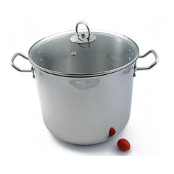 Camerons Products - 20 Quart Stock Pot - Single-Ply Body with Glass Lid - - 18/10 Stainless steel polished exterior and matte interior for easy cleaning. \