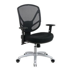 Office Star - Synchro Tilt Desk Chair w Mesh Back, Padded A - Even high power executives will love relaxing back into the comfort of this 2-to-1 synchro tilt control with adjustable tilt tension office chair.  Thickly padded contoured mesh seat and screen back allow for breathable comfort with softly padded adjustable height arms for even more comfy appeal.  The heavy duty aluminum finish base provides ease of movement on dual wheel carpet casters. * Thick Padded Contour Mesh Seat with Screen Back.  Pneumatic Seat Height Adjustment.  2-to-1 Synchro Tilt Control with Adjustable Tilt Tension.  Height Adjustable Arms with Soft PU Pads.  Heavy Duty Aluminum Finish Base with Dual Wheel Carpet Casters.  Seat Size: 18W x 18D x 1.5T. Back Size: 18W x 11.5H x 1.5T. Overall Max: 31H x 21W x 22.5D