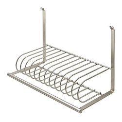 "Hafele America Co. - Plate Holder For Backsplash Railing System - This sleek Plate Holder is one of the many interchangeable components that can be attached to the Backsplash Railing SystemHolds up to 12 10"" plates   15"" x 7 1/2"" x 10"" Material: Steel plated; Finnish: nickel matte"