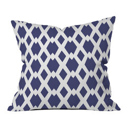 DENY Designs - Lisa Argyropoulos Daffy Lattice Navy Outdoor Throw Pillow - Do you hear that noise? it's your outdoor area begging for a facelift and what better way to turn up the chic than with our outdoor throw pillow collection? Made from water and mildew proof woven polyester, our indoor/outdoor throw pillow is the perfect way to add some vibrance and character to your boring outdoor furniture while giving the rain a run for its money. Custom printed in the USA for every order.