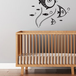 Cherry Walls - Fishies Decal - Make a splash in your nursery. A school of brightly colored fish complement any aquatic theme. Find hints of underwater calm and your own bliss with this marine-inspired wall decal.