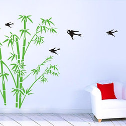 "Wall Decal Bamboo Birds Vinyl Decals Wall Decor - Whole visual dimension: 108""W x 80""H (274cm x 203cm)"