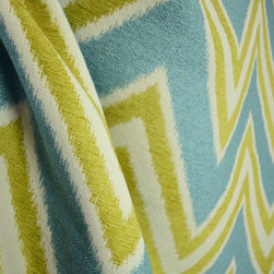 Cayo Agean Chenille Chevron Upholstery Fabric By The Yard - In Cayo Agean lime green chenille and aqua blue frieze are woven into a cream background to create a large chevron pattern.  This heavyweight upholstery fabric is good for pillows, cornice boards or furniture.