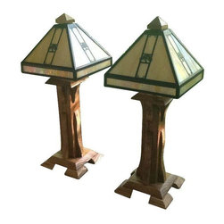 "Mission Style Grove Park Inn Lamps - A pair of hand made traditional Mission style oak lamps with vintage shades.  Note from the seller: ""These lamps were built by myself from oak planks removed from the historic Grove Park Inn located in Asheville, North Carolina. The shades are authentic GPI given to me by a local collector."""
