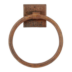 "7"" Hand Hammered Copper Towel Ring"