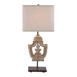 Kathy Kuo Home - Pair Dorene Vintage Chic White Wash Architectural Table Lamp - Made to match our Dorene sconce, this table lamp has a distressed finish and is made to add architectural detail to any room.  Price marked is for a pair.