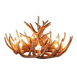 Muskoka Lifestyle Products - Rustic Whitetail Antler Cascade Chandelier - 12 Antlers 9 Lights - Our Rustic Whitetail 12 Antler Cascade Chandelier is the best faux antler chandelier available on the market. We have taken our replication process from our other rustic decor items and matched the authentic finish. Real antlers are used to model the reproduction for an exact and comparable result. The process to create the antler chandeliers uses a time proven, cast resin system to ensure perfection in every piece. We have hand-stained and antiqued each antler to achieve the exact comparable match to the real antler. Bring the perfect rustic decor to your home, cabin, or office with these antler chandelier reproductions. From the large majestic options to the quiet accent lights, our reproduction antler chandeliers are perfect for entry ways, pool tables, dining room tables, living rooms, offices, or anywhere you want to hang them to create the perfect, natural look in any room. All antler chandeliers are UL listed to ensure absolute safety, quality, and US building code parameters are met.