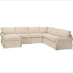 """PB Basic Left 4-Piece Chaise Sectional Slipcover, Everydayvelvet Buckwheat - Designed exclusively for our PB Basic Sectional, these easy-care slipcovers have a casual drape, retain their smooth fit, and remove easily for cleaning. Select """"Living Room"""" in our {{link path='http://potterybarn.icovia.com/icovia.aspx' class='popup' width='900' height='700'}}Room Planner{{/link}} to select a configuration that's ideal for your space. This item can also be customized with your choice of over {{link path='pages/popups/fab_leather_popup.html' class='popup' width='720' height='800'}}80 custom fabrics and colors{{/link}}. For details and pricing on custom fabrics, please call us at 1.800.840.3658 or click Live Help. All slipcover fabrics are hand selected for softness, quality and durability. {{link path='pages/popups/sectionalsheet.html' class='popup' width='720' height='800'}}Left-arm or right-arm configuration{{/link}} is determined by the location of the arm on the love seat as you face the piece. This is a special-order item and ships directly from the manufacturer. To view our order and return policy, click on the Shipping Info tab above."""