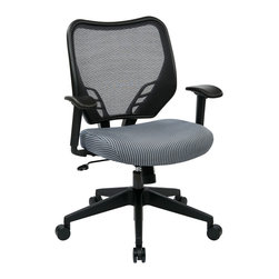 Office Star - Office Star Blue Mist VeraFlex Seat and Dark AirGrid Back Managers Chair - Blue Mist  VeraFlex Seat and Dark AirGrid Back Managers Chair with Adjustable Arms and Angled Nylon Base, Pneumatic Seat Height adjustment, 360? swivel, 2 to 1 Synchro Tilt with tilt tension and lock What's included: Office Chair (1).