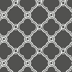 Ballard Designs - Fretwork Trellis Wallpaper Charcoal Gray/White Double Roll - Geometric pattern. Double roll. Unpasted. Washable. Strippable. In this stylish wallpaper, a mid-sized graphic trellis half-moon pattern reminiscent of Moroccan art and architecture comes together to form perfect open circles where they meet. We love the pattern for its beautifully clean use of line and color. Fretwork Trellis Wallpaper features: . . . . .