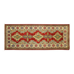 Manhattan Rugs - New Fine Geometric SuperKazak 3x7 Hand Knotted Wool Veg Dyed Pakistani Rug H5900 - Kazak (Kazakh, Kasak, Gazakh, Qazax). The most used spelling today is Qazax but rug people use Kazak so I generally do as well.The areas known as Kazakstan, Chechenya and Shirvan respectively are situated north of  Iran and Afghanistan and to the east of the Caspian sea and are all new Soviet republics.   These rugs are woven by settled Armenians as well as nomadic Kurds, Georgians, Azerbaijanis and Lurs.  Many of the people of Turkoman origin fled to Pakistan when the Russians invaded Afghanistan and most of the rugs are woven close to Peshawar on the Afghan-Pakistan border.There are many design influences and consequently a large variety of motifs of various medallions, diamonds, latch-hooked zig-zags and other geometric shapes.  However, it is the wonderful colours used with rich reds, blues, yellows and greens which make them stand out from other rugs.  The ability of the Caucasian weaver to use dramatic colours and patterns is unequalled in the rug weaving world.  Very hard-wearing rugs as well as being very collectable