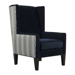 Isabelle Chair - Bring drama, decadence and distinction to your interior with the Isabelle chair's sublime design. Riveting in ravishing shades of blue, the grand wingback frame evokes both vintage elegance and modern glamour, from an exterior upholstered in a bold graphic print, to an interior swathed in velvety navy.
