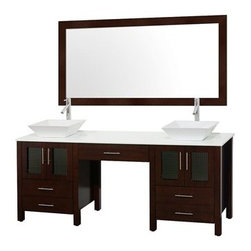 """Modern Bathroom - Allandale 75"""" Double Bathroom Vanity - Espresso - The Allandale Double Bathroom Vanity brings modern functional design into your home. Wood works in harmony with your choice of a glass or solid marble counter creating clean lines and a peaceful oasis for two. Included in the Allandale Double Bathroom Vanity are your choice of a solid glass or solid marble counter, a multitude of sink options, and an optional matching mirror. Featuring soft-close door hinges, you'll never hear a drawer slam shut again! A rich espresso finish, four doors, and five drawers, and the ease of installation of a free-standing vanity are among the features. The attention to detail on the Allandale doesn't stop there, it also includes a center vanity bridge. Use it as your perfect make up or grooming area with it's own large drawer with ample room for jewelry, cosmetics, razors, and watches, with the perfect space to store a stool or chair.Features Includes solid glass counter Solid Ivory Marble or White Carrera Marble upgrades available Includes porcelain sinks Marble and granite sink upgrades available Includes four doors with soft-close door hinges Includes five drawers for extra storage Includes center vanity bridge Matching mirror available Faucets not included Pre-drilled for single hole faucets Variations in the shading and grain of our natural stone products enhance the individuality of your vanity and ensure that it will be truly unique How to handle your counter Spec Sheet """" target=""""_blank"""" class=""""pdf"""">Installation Instructions -->Spec Sheet for Claire Rotating Wall Cabinet with mirror (WC-B802) Spec Sheet for Sarah Storage Cabinet (WC-B803) Spec Sheet for Accara Bathroom Wall Cabinet (WC-B805) Spec Sheet for Maria Bathroom Wall Cabinet (WC-B807) Please note that all custom natural stone and Caesarstone counters are proudly manufactured in the USA specifically for your order, and so require at least 4 weeks manufacturing time. Caesarstone Carbone, Starry Night, Spr"""