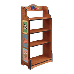 Fantasy Fields - Fantasy Fields Little Sports Fan Personalized Bookcase Multicolor - TD-0018AP - Shop for Childrens Bookcases from Hayneedle.com! You can save space on the Fantasy Fields Little Sports Fan Personalized Bookcase for the day when it's filled with trophies or you can fill it right now with plenty of books games and toys. This durable shelf is constructed from rugged MDF with a painted finish. The sports motif runs up the sides and painted trim gives it a finished high-end look. At the top you even have the opportunity to personalize it with your child's name. The wide base adds stability as well as a bit of visual style that makes it stand out from other bookshelf options.About Teamson DesignBased in Edgewood N.Y. Teamson Design Corporation is a wholesale gift and furniture company that specializes in handmade and hand-painted kid-themed furniture collections and occasional home accents. In business since 1997 Teamson continues to inspire homes with creative and colorful furniture.