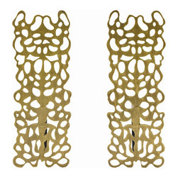 """Arteriors - Arteriors Home - Hedda Andirons (Set of 2) - 4222 - This laser cut pattern speaks to the pleasing nature of artistic symmetry and has a tribal feel about it. The andirons are constructed of steel and finished in antique brass. Features: Hedda. Collection: Andirons Antique Brass FinishBlack Iron Some Assembly Required. Dimensions: W: 7"""" x D: 5.5"""" x H: 19.5"""""""
