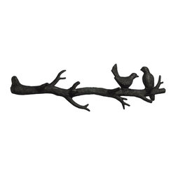 Cyan Design - Cyan Design Bird Branch Coat Hook Wall Art X-86810 - The nature-inspired design of this Cyan Design coat hook makes it a versatile piece that is elegant in contemporary or traditional settings. The branch design comes paired with two charming bird accents, with the entire frame done in cast iron and finished in Canyon Bronze.