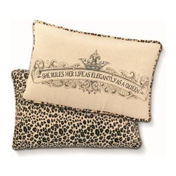 "Crown Pillows - Add regal style to your castle with this darling Crown Pillow from the ""She Rules"" collection. Large 9 3/4″ x 16″ pillow reads: ""She rules her life as elegantly as a Queen"". Trimmed & backed with neutral leopard patterned fabric."
