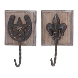 Western Wall Hooks - Whether you hang them in the mud room, kitchen, or entryway, the Western Wall Hooks dress up any space with their Western allure. They come packaged as a set of two, one with a horseshoe motif and the other with a Fleur-de-lis. The wood backs have a distressed natural finish, but what you'll really love are the metal hooks, which create the perfect hangout for keys, a hand bag, and especially a cowboy hat.