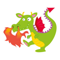 Boys room wall decor - Kids will love this green fire dragon wall decal. Also great on a laptop cover or as a giclee canvas print.