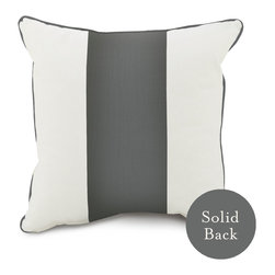 """Oilo - 18"""" x 18"""" Band Pillow, Pewter - One wide stripe of color takes center stage on this classic throw pillow. With coordinating piping and a solid backing, this cozy cushion can be easily mixed and matched with countless patterns and colors for your couch or bed. You can't go wrong with this classic design."""