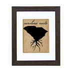 Fiber and Water - South Carolina Roots Art - Proud of your roots? Then let them show! This clever silhouette printed on natural burlap gives an earthy, nostalgic shout-out to your native soil. It comes ready to hang in a matching distressed black wood frame and contrasting white matte.