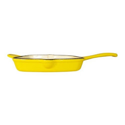 "Le Chef Cookware - Le Chef Lemon Yellow Enamel Cast Iron Square Grill Pan, 10.5"" - LeChef® Enameled Cast Iron Grill Pan is designed to reduce stovetop splatter when searing steaks or grilling burgers. The cooking surface has raised ridges to give foods the characteristic marks of grilled foods. This grill pan allows fats to drip away from your food for healthier cooking. Ideal for a multitude of uses from oven to table. The hard and glossy porcelain enameled surface is chip resistant and easy to clean. Hygienic porcelain enamel is non-reactive with food. Although dishwasher safe, hand washing with warm soapy water is recommended to preserve the cookware's original appearance."