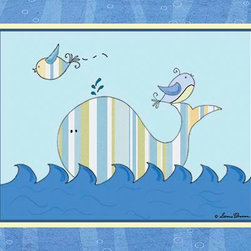 Oh How Cute Kids by Serena Bowman - Big Blue Sea - Striped Whale, Ready To Hang Canvas Kid's Wall Decor, 11 X 14 - Each kid is unique in his/her own way, so why shouldn't their wall decor be as well! With our extensive selection of canvas wall art for kids, from princesses to spaceships, from cowboys to traveling girls, we'll help you find that perfect piece for your special one.  Or you can fill the entire room with our imaginative art; every canvas is part of a coordinated series, an easy way to provide a complete and unified look for any room.