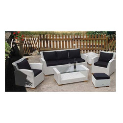Fifthroom - White Wicker Square Back 6 Piece Deep Seat Patio Set -
