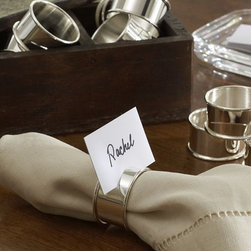 Caterer's 12-Piece Napkin Ring/Place Card Holder Set - Name cards are a wonderful touch but often take up valuable space on a table — but not these! Fun and personal, these cards make seating arrangements purposeful, or not.