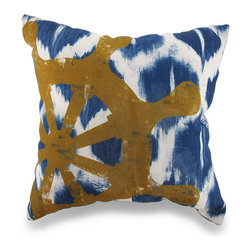 Nautical Blue and White Ikat Throw Pillow w/Ship`s Wheel Accent 18 in. - Now you can beautifully accent your home inside or out in aweseome nautical style with this striking blue and white ikat dyed throw pillow that`s perfect for your living room sofa, the Adirondack chair on the patio or the chaise lounge in your garden oasis. The 100% polyester cover is water repellent and it`s filled with 100% polyester fiber. Measuring 18 inches high by 18 inches long (46 cm by 46 cm), it would look amazing by a pool area, in your cottage or just tossed on the bed, and features a bold ship`s wheel on both sides. It is recommended to dry clean or spot clean only. This bright and cheerful throw pillow would make an excellent housewarming gift for any nautical fans!