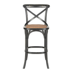 Safavieh - Franklin Barstool - Hickory - With its willowy frame and iconic cross-back inspired by Michael Thonet��_s classic bistro chair, the Franklin barstool by Safavieh is ideal in kitchen or great room. Crafted of solid American oak, including the X arch brace, this casual barstool is finished in black with a seat of rattan caning.