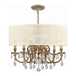 Crystorama Lighting - Crystorama Lighting 2916-OB-SAW-CLM Brentwood Traditional Chandelier - Crystorama Lighting 2916-OB-SAW-CLM Brentwood Traditional Chandelier In Olde Brass With Hand Cut Crystal