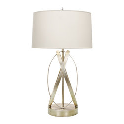 """Worlds Away - Worlds Away Silver Leafed Ovals Lamp CLEO S - Silver leafed ovals lamp base with 15"""" parchment shade. Ul approved for one 60 watt bulb"""