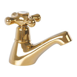 Renovators Supply - Faucets Brass Single Tap Faucet Pair Hot & Cold - Faucet Taps: These solid PVD brass sink taps feature long-lasting ceramic washerless valves. The brass spouts have cross handles one labeled Hot and the other Cold. Pull out plug not included, we suggest item 98915 or 98916. Measures 3 3/8 in. high and 1 1/2 in. from spout to counter.