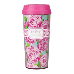 Lilly Pulitzer - Lilly Pulitzer Thermal Mug, First Impression - Our Lilly Pulitzer Thermal Mug, First Impression is the answer for you if you're looking for a large coffee mug that can travel easily with you. The pink lid makes it even cuter than it is convenient, and the styling of this travel mug will fill you with cheer as you sip your coffee, tea or cocoa.