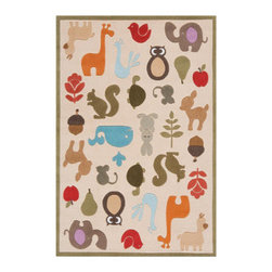 Grandin Road - Critter Area Rug - 2'x 3' - Adorable and plush handcarved area rug. Colorful critters on an ivory ground with a sage green border. Hand-tufted construction. 100% modacrylic. Extend the life of your rug with a Nonslip Rug Pad (sold separately). Our sculpted Critter Indoor Area Rug invites a collection of colorful flora and fauna to take the floor of your child's playroom or nursery.. . . . .