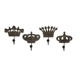 iMax - iMax Regent's Crown Hooks X-4-35821 - Set of four porcelain crown hooks fit for a king.