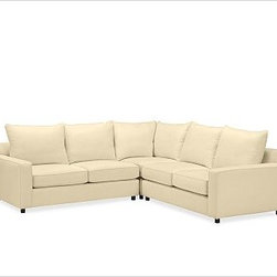 """PB Comfort Square Arm Upholstered Sectional 3-Piece L-Shaped Corner Sectional w/ - Built by our own master upholsterers in the heart of North Carolina, our PB Comfort Square Upholstered sectional is designed for unparalleled comfort with deep seats and three layers of padding. 107.5"""" w x 107.5"""" d x 42"""" d x 39"""" h {{link path='pages/popups/PB-FG-Comfort-Square-Arm-4.html' class='popup' width='720' height='800'}}View the dimension diagram for more information{{/link}}. {{link path='pages/popups/PB-FG-Comfort-Square-Arm-6.html' class='popup' width='720' height='800'}}The fit & measuring guide should be read prior to placing your order{{/link}}. Choose polyester wrapped cushions for a tailored and neat look, or down-blend for a casual and relaxed look. Choice of knife-edged or box-style back cushions. Proudly made in America, {{link path='/stylehouse/videos/videos/pbq_v36_rel.html?cm_sp=Video_PIP-_-PBQUALITY-_-SUTTER_STREET' class='popup' width='950' height='300'}}view video{{/link}}. For shipping and return information, click on the shipping tab. When making your selection, see the Quick Ship and Special Order fabrics below. {{link path='pages/popups/PB-FG-Comfort-Square-Arm-7.html' class='popup' width='720' height='800'}} Additional fabrics not shown below can be seen here{{/link}}. Please call 1.888.779.5176 to place your order for these additional fabrics."""