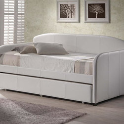 Hillsdale - Springfield Daybed in White Faux Leather - Includes Daybed and Suspension Deck. Mattress and Trundle not included. White Faux Leather. Assembly Required. 84 in. L x 42 in. D x 43 in. HWhether you choose it for a teens bedroom or need it as a guest bed in your office or den, the Springfield daybed is a marvelously modern solution.The easy to care for faux leather and rounded edges add to this daybeds allure.
