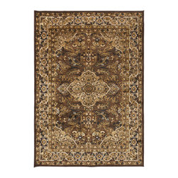 "Surya - Surya Basilica BSL-7202 (Dark Brown, Olive) 5'2"" x 7'6"" Rug - The rugs of Surya's Basilica Collection are distinctive and textural with high contrast color palettes and shimmering details. Machine made in Turkey from a combination of viscose and acrylic chenille, these rugs are durable, stylish, and priced right. Modern motifs and cutting edge construction, they make a sophisticated statement in any transitional or contemporary space."