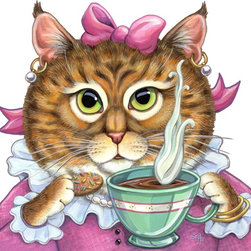 Girls rooms wall decor - Have tea with Miss Goldiecat. Beautiful as a canvas print for $95. Size is 20 x 20 inches. Adults love her too.